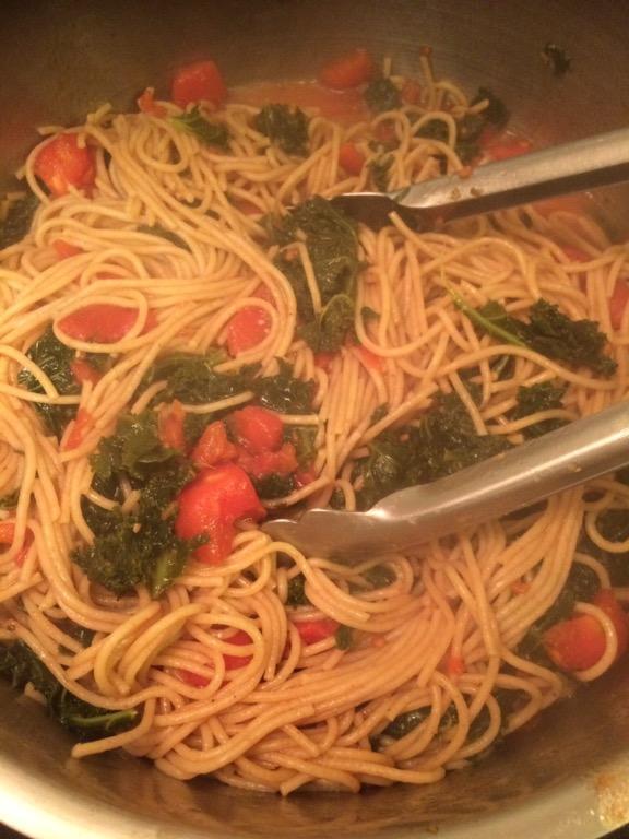 Swiss Chard-Tomato Spaghetti