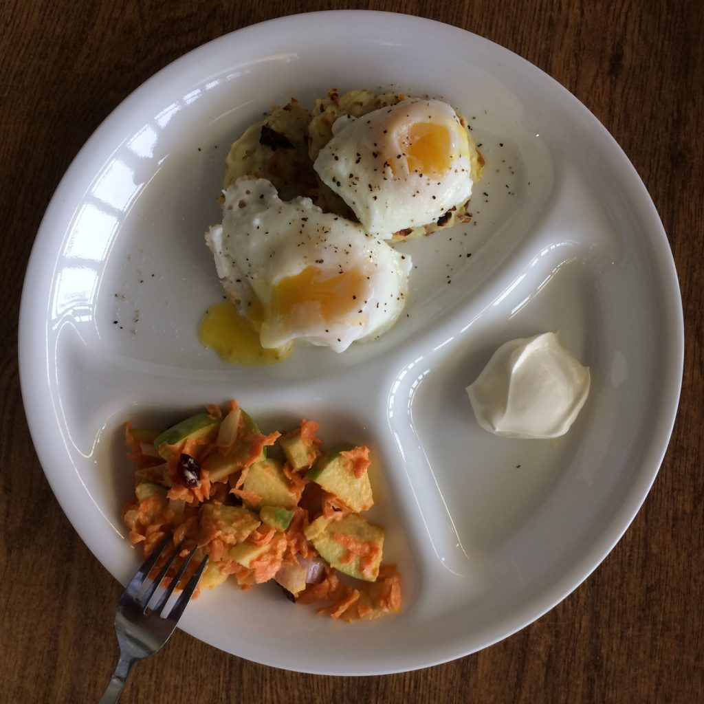Poached Eggs and Potato Pancakes